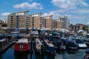 Narrowboats in the basin
